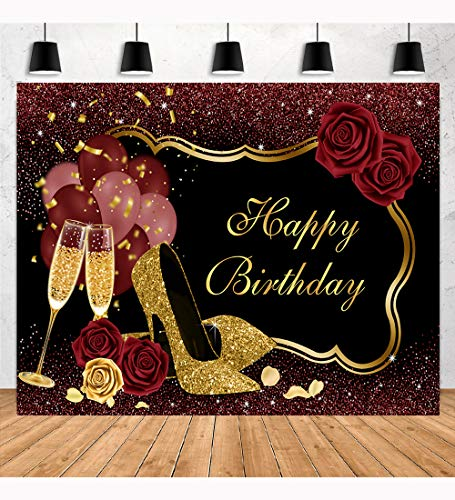 Aperturee 7x5ft Sweet Red Happy Birthday Backdrop Rose Shiny Sequin High Heels Champagne Golden Frame Glasses Photography Background Glitter Bday Adult Women Girl Party Banner Photo Booth Studio Props