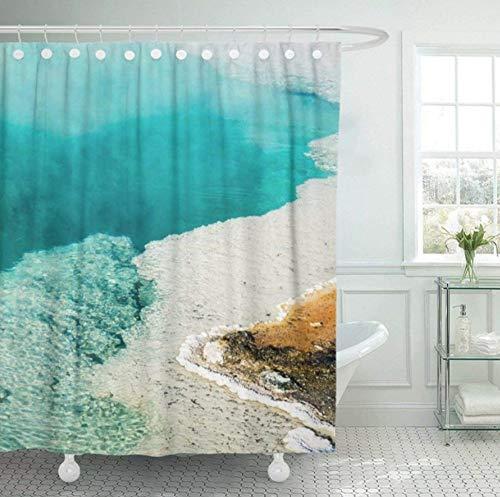 Yuuwo douchegordijn van stof, stoom, met haak om op te tillen, voor het zwembad met water, diepblauw, versierd met de wastafel West Geey