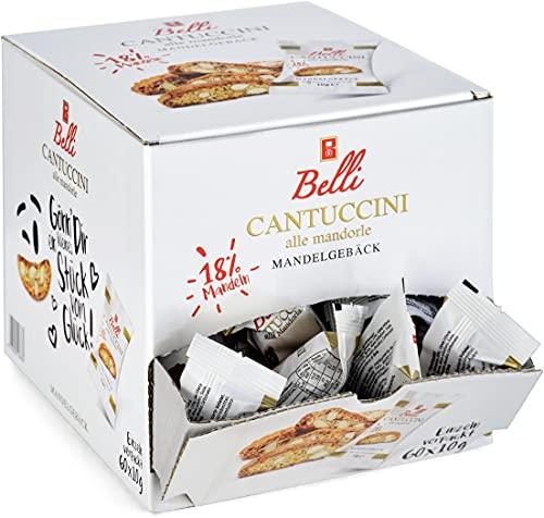 Belli Cantuccini alle mandorle (1x 600g)   60x Kekse pro Box   Gebäck mit Mandeln aus Italien   einzeln verpackte Kekse in einer praktischen Box