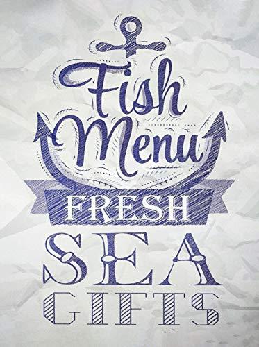 Fun Fish Menu Metal Tin Signs Wall Decor for Bars,Restaurants,Cafes Pubs Halloween Tin Metal 8x12 inch