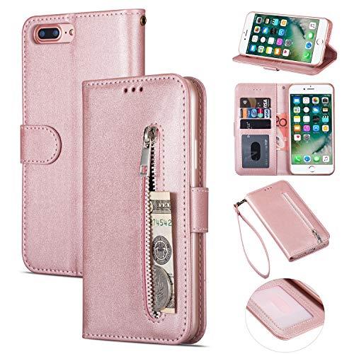 ZTOFERA iPhone 7 Hülle, Flip Leder Magnetisch Folio Wallet Standfunktion Reißverschluss schutzhülle mit Trageschlaufe, Brieftasche Hülle für iPhone 7/iPhone 8- Roségold