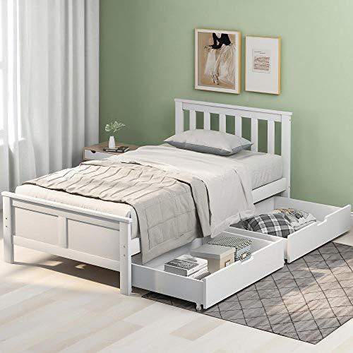 Cama de Madera Maciza de Pino Blanco con cajones, Estructura de Muebles de Cama para Adultos, niños, Adolescentes, 3 pies Individual (Blanco 190x90cm)