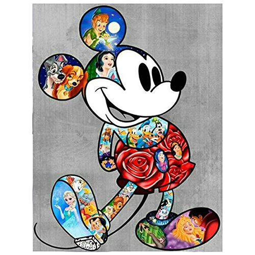 YANGCH - Pintura de diamante 5D con diseño de Mickey Mouse, punto de cruz, mosaico decorativo, círculo completo, (19.7x27.6inch)
