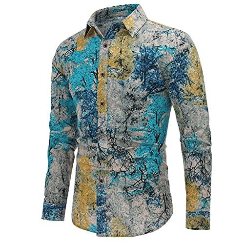 Camicia Elegante da Uomo Shirt Elegante a Maniche Lunghe in Lino Stampato Camicia Casual Fantasia Floreale Tops Pattern Unico cs6 L