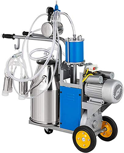 Happybuy Electric Milking Machine 1440 RPM 5-8 Cows per Hour Milker Machine 0.55 KW Milking Equipment with 25L 304 Stainless Steel Bucket Single Cow Milking Machine Bucket Milker for Cows