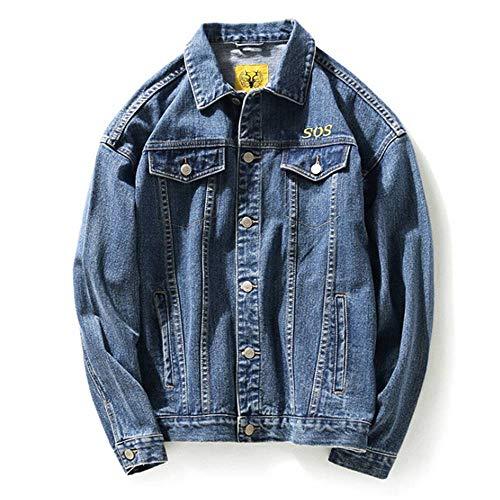 XIELH borduurwerk wit roze dames heren jeansjack rolkraag lange mouwen streetwear heren jeans jacks, JK12, L