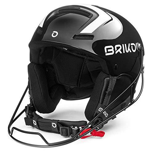 Briko Slalom Skihelm/Snowboardhelm, Erwachsene, Unisex, Shiny Black White, 58 cm