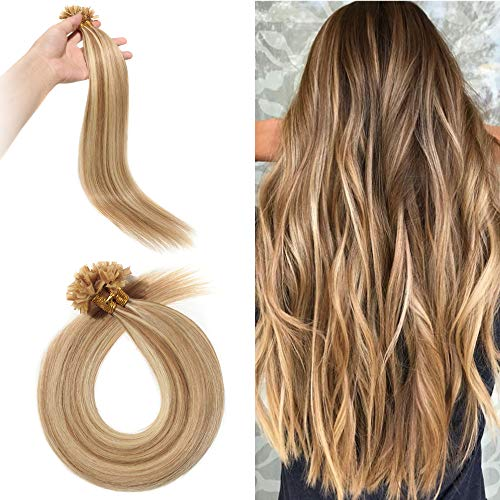 Silk-co Bonding Extensions Echthaar 100 strähnen - #12/613 Hell Gold-braun/Gebleichtes Blond - Kertain Bonding Haarverlängerung Remy Echthaar U Tip Human Hair (55cm-50g)