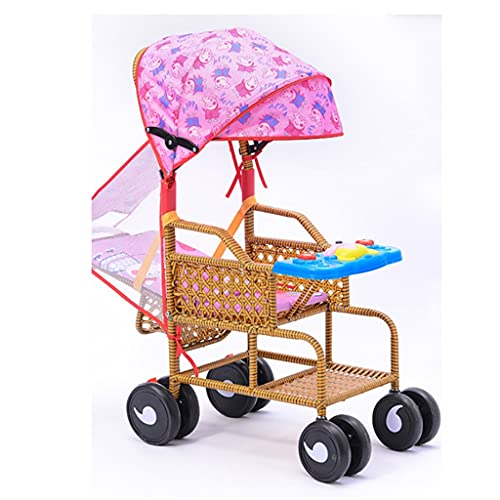 jiji Cochecito de bebé cochecito de verano bambú y ratán puede sentarse reclinables Cochecitos ligeros de dos vías, silla de ratán para bebé Cochecito compacto (color: D, tamaño: hay cojines)
