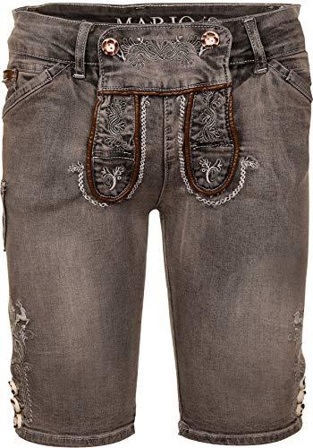 MarJo Trachten Jeans Short Gustl Herren grau | Jeans-Lederhose mit Stretch | Trachtenhose kurz (grau, 52)