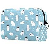 Petit sac de maquillage mignon de dessin animé ours polaire cubes petit sac de maquillage pour sac...