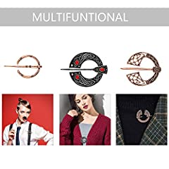 Hicarer 6 Pieces Vintage Viking Brooches Cloak Pins Scarf Shawl Buckle Clasp Pin Brooch Penannular Brooch for Men Women Costume Accessory, Antique Silver and Rose Gold #4