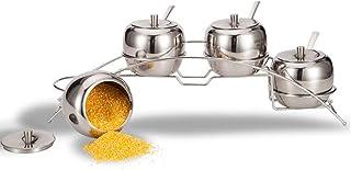 SONGYU Support de Rangement pour Pots d'assaisonnement Multifonctions en Acier Inoxydable, 4 pièces, poignée trapézoïdale,...