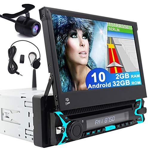 Universal Single 1 DIN Android 10.0 QuadCore 2GB RAM 32GB ROM 7 Pulgadas InDash DVD Player GPS Navigation Motorized Desmontable Touch Pantalla Coche estéreo Radio Apoyo Bluetooth USB SD WiFi OBD Dab+