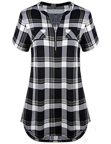 Odosalii Damen V-Ausschnitt Kariert Bluse 3/4 Ärmel Langarm Reißverschluss Tunika Longshirt Hemd Tops T-Shirt, XL, B_schwarz Kariert_kurzarm