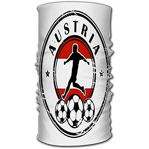Multifunctionele hoofddeksel,Grunge Stempel Met Voetbal En Naam Oostenrijk Magic Hoofdband Multifunctionele Hoofddeksels Voor Outdoor Hardlopen Rijden