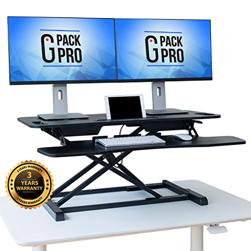 G-Pack Pro Standing Desk Converter - Height Adjustable Sit Stand Desk Riser up to 20.5' - Super Wide 37' Table fits Dual Monitors - 22 Ergonomic Adjustable Standing Desk Workstation Positions