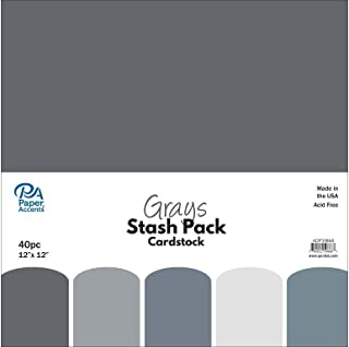 Paper Accents 40pc Stash Pack 12x12 Grays