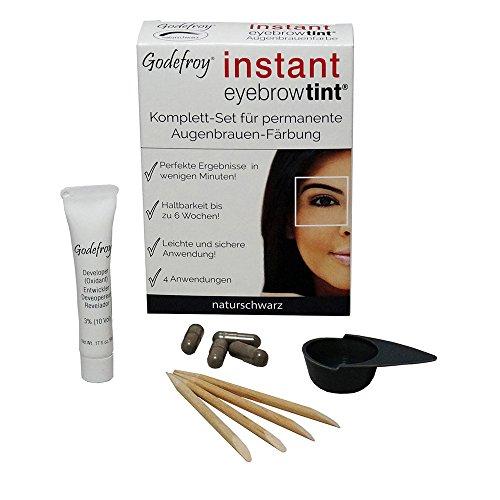 Godefroy Neu Augenbrauenfarbe Färbeset Instant Eyebrow Tint, naturschwarz, 1er Pack (1 x 4 Stück)