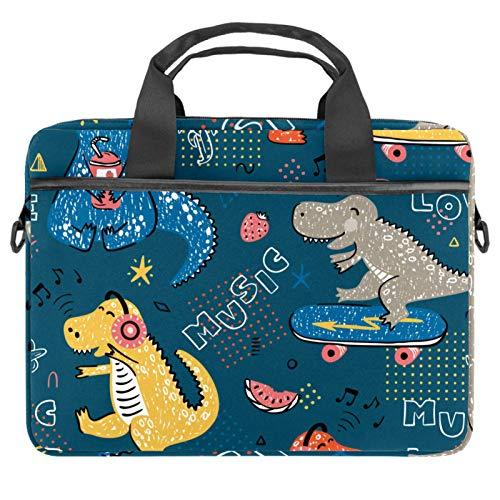 Bolsa de hombro para portátil con bolsillos de almacenamiento de accesorios (13.4 – 14.5 pulgadas), diseño de dinosaurios y notas musicales
