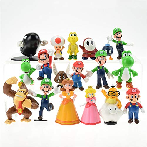 18 PCS Super Mario series Figures Toys, Great for Play or Collecting and Cake Decoration.