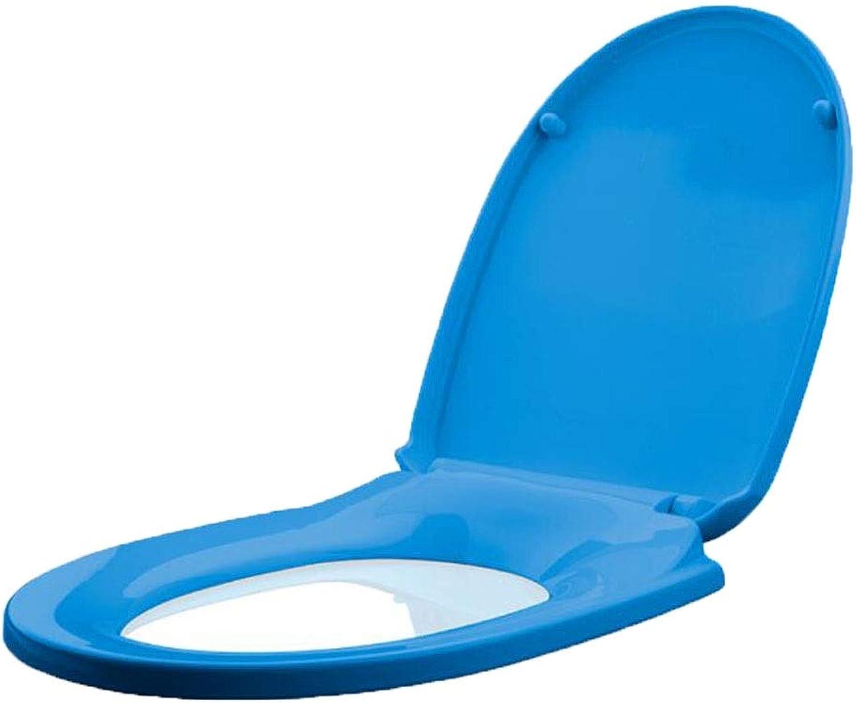 HYYSH Farbe WC-Abdeckung U-V-Typ Universal altmodisch absteigende Verdickung Schnellverschluss Toilettenabdeckung (Farbe   Blau)