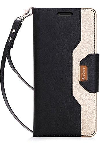 ProHülle Wallet Hülle für Galaxy Note 8, Flip-Ständer Hülle mit Karten-Slots Spiegel Wristlet, Klappständer Schutzhülle für Samsung Galaxy Note 8 2017 -Schwarz