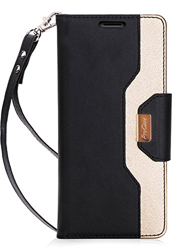 ProCase Galaxy Note 8 Wallet Case, Flip Kickstand Case with Card Slots Mirror Wristlet, Folding Stand Protective Cover for Galaxy Note8 2017 -Black