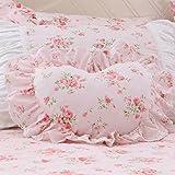 LELVA Floral Ruffle Design Throw Pillow Sham Cushion Pink Heart Decoration Pillow Shaped Sofa Bed Throw Pillows