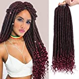 AISI BEAUTY Faux Locs Crochet Hair Goddess Locs Crochet Hair 20 inch Pre-Looped Crochet Hair with Curly Ends Synthetic Black Mixed Burgundy Hair Extension for Black Women Braiding (T1B-BUG)