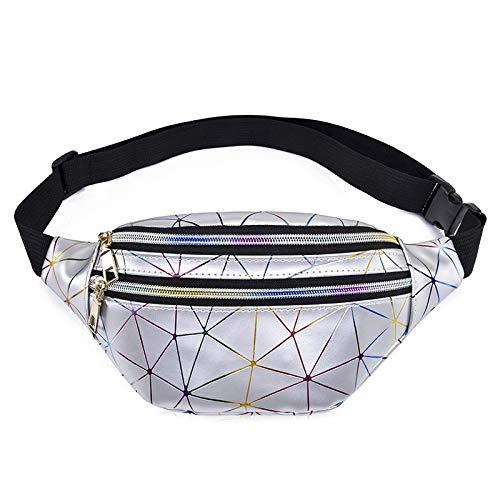 Paquete de Cintura Holográfico Bolsas de Cintura Mujeres Plata Fanny Pack Mujer Cinturón Bolsa Negro Geométrico Cintura Paquetes Láser Pecho Teléfono Bolsa 4106silver