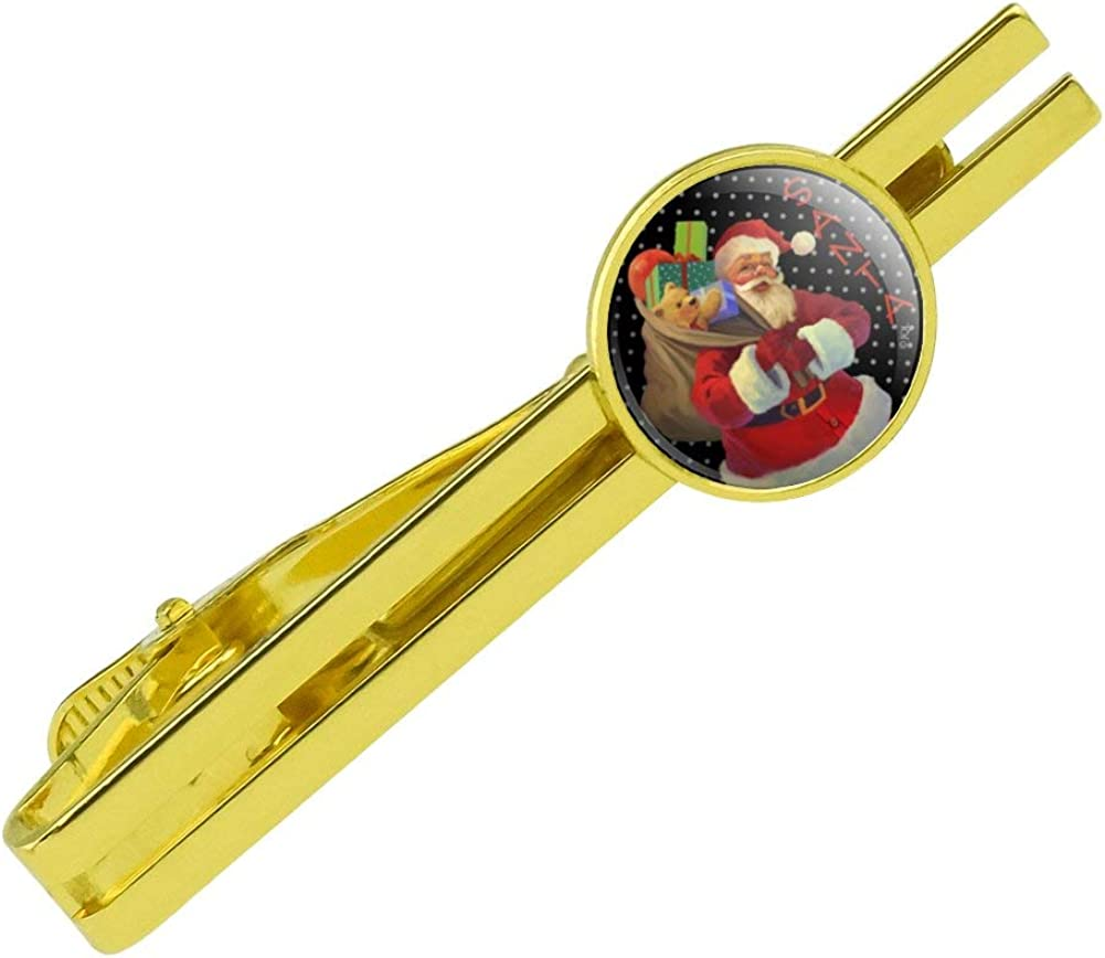 GRAPHICS & MORE Christmas Holiday Santa Sack Graphic Round Tie Bar Clip Clasp Tack Gold Color Plated