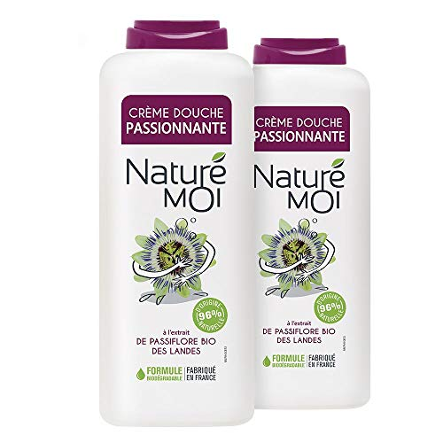 Naturé Moi – Crème douche passionnante à l'extrait de passiflore bio des Landes – Hydrate et nourrit les peaux normales à sèches – 400ml - Lot de 2