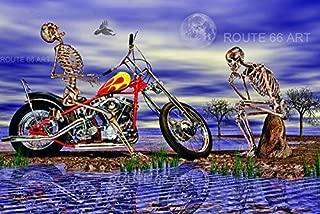 Harley Davidson Panhead Chopper Motorcycle Easyrider Skeleton Sturgis Biker Art Print