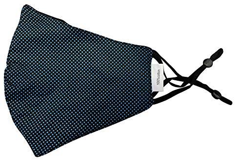 Mund Nase Stoffmaske Gesichtsmaske mit Nasenbügel | Community Fashion Maske - Schwarz mit blauen Punkten