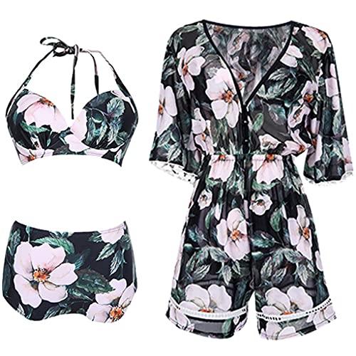 NJZYB Bikini traje de baño dividido sexy para mujer de tres piezas de moda cubierta del vientre delgado bikini conservador junto al mar (Color : A, Size : L code)