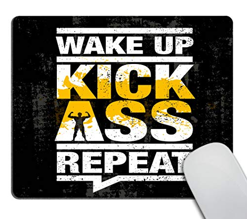 Smooffly Fitness Gym Sport Workout Motivation Quote Mouse pad - Wake Up Kick Ass Repeat Non-Slip Rubber Comfortable Customized Computer Mouse Pad