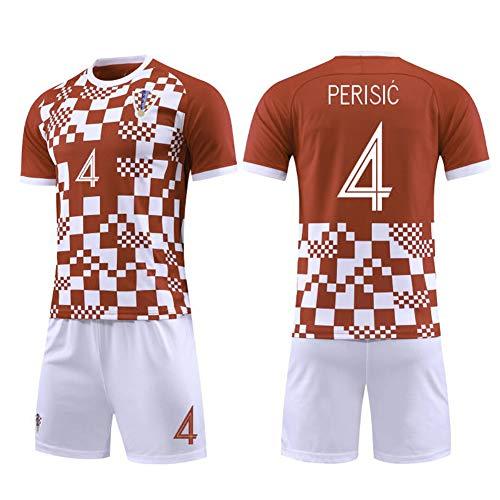4# Perisic Croatia Kinder Fußballtrikot Set-Professionelle Technische Kleidung Athleten Trikot Fans Anzug Teenager Sportswear Mesh Schnelltrocknendes Kurzarm Fans Sweatshirt-XXL(195.200CM)