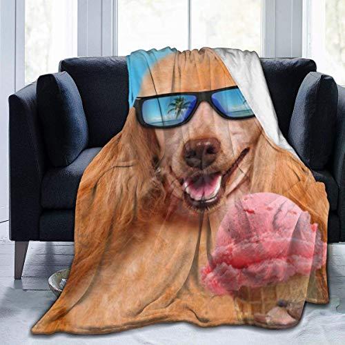 Kteubro Pets Eating Ice Cream Ultra-Soft Fleece Blanket Flannel Velvet Plush Throw Blanket D4491