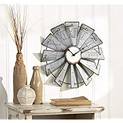 The Lakeside Collection Metal Windmill Wall Clock with Distressed Finish and Roman Numerals
