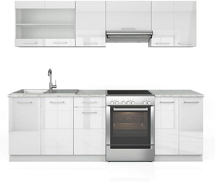 Cucina vicco raul cucina componibile blocco cucina cucina su misura 240 cm bianco lucido B08TM72G53