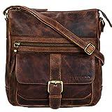 STILORD 'Louise' Vintage Bolso Bandolera Mediano para Mujeres y Hombres de Piel Bolso Mensajero o Bolsa para Tablet 9.7' o iPad A5 de auténtico Cuero, Color:Mocca - marrón Oscuro