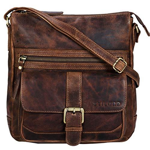 STILORD 'Louise' Vintage Umhängetasche Damen Leder klein Messenger Bag Tablet-Tasche für 9.7 Zoll iPad Schultertasche DIN A5 Handtasche aus echtem Rindsleder, Farbe:Mocca - Dunkelbraun