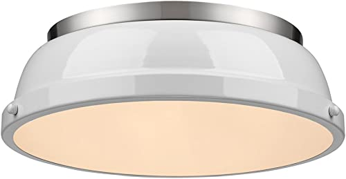 wholesale Golden Lighting 3602-14 PW-WH wholesale Duncan Flush lowest Mount, Pewter with White Shade sale