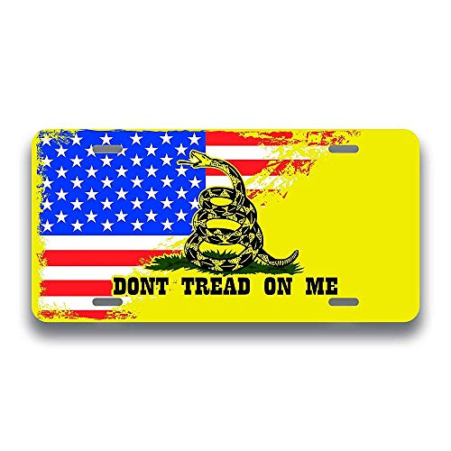 SENMIYX Gadsden Flag Dont Tread On Me American Flag License Plate Tag Vanity Novelty Metal UV Printed Metal 6-Inches by 12-Inches Car Truck RV Trailer Wall Shop