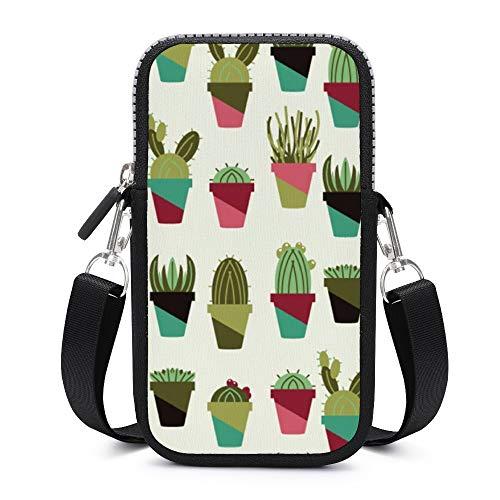 Handy-Umhängetasche mit abnehmbarem Schultergurt, Kaktus, schweißfest, Tasche für Geldbörse, Outdoor-Taschen für Damen