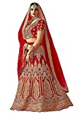 Divine Products India Women's Red Pure Silk Semi-Stitched Lehenga Choli With Dupatta