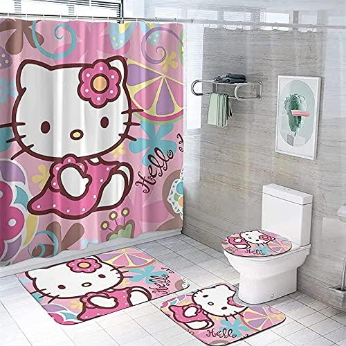 Amacigana Cartoons Hello Kitty Duschvorhang Anime Hello Kitty Pink Bunt Shower CurtainsWasserdicht Badezimmerteppich 4-teiliges Set (150×180cm,Hello Kitty 14)