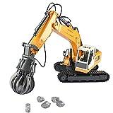 HLKYB 3-in1 Ferngesteuerter Bagger Fahrzeug 17 Kanal Full Funktionsschwer Construction Digger Toy with2.4G Transmitter, Bagger LKW mit Extra-Greifer und Grabber -