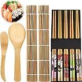 Conjunto de Herramientas de Principiantes de Hacer Sushi Incluye Almohadillas de Sushi Cortina de Bambú de Arroz Nori Equipo de Esterilla Palillos Paleta de Arroz y Esparcidor de Arroz, Set de 9